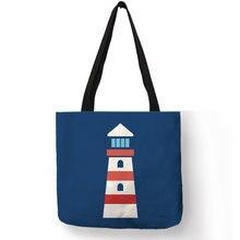 bb82658b0c53 Океанский Вояж тема Сумочка море океан навигации Watchtower компасы принт  лен сумки через плечо ручной работы