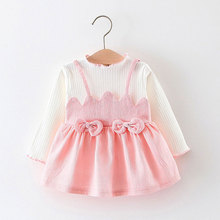 Spring fall baby girl clothes dresses 1 year girl baby birthday dress for newborn long sleeve grid baby girls clothing dress