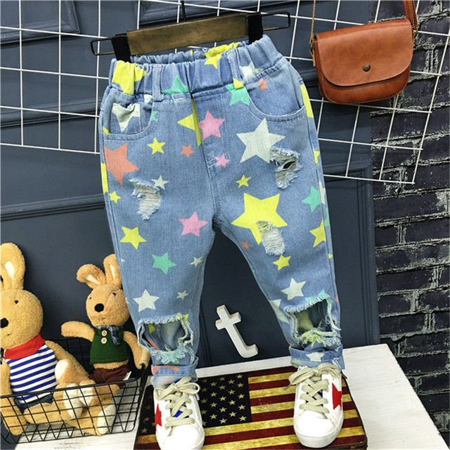 Children's clothing 2017 spring new boy Korean version of the wild printing tide children's jeans casual pants free shipping
