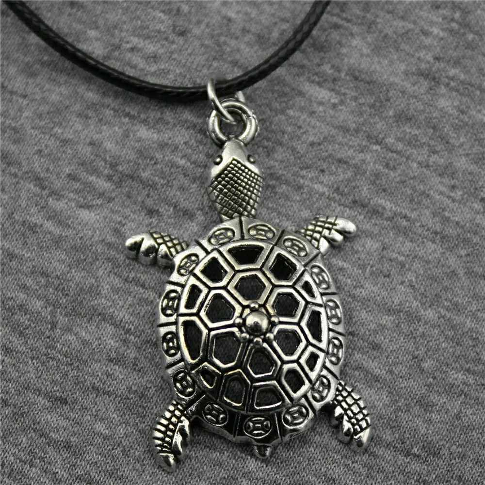 Dropshipping Leather Chain 38x25mm Tortoise Pendant Necklace Antique Silver Color Necklace Vintage