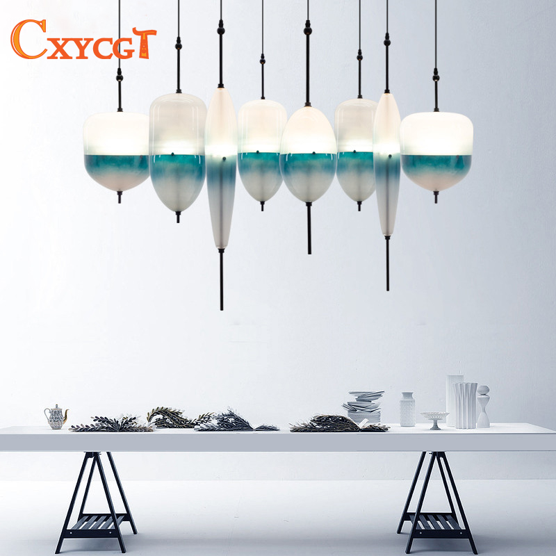 Modern Blue Glass led Pendant Lights Art Decoration Pendant Lamp for Dining Room Restaurant Bar coffee house Suspension Lamp fumat stained glass pendant lamps european style glass lamp for living room dining room baroque glass art pendant lights led