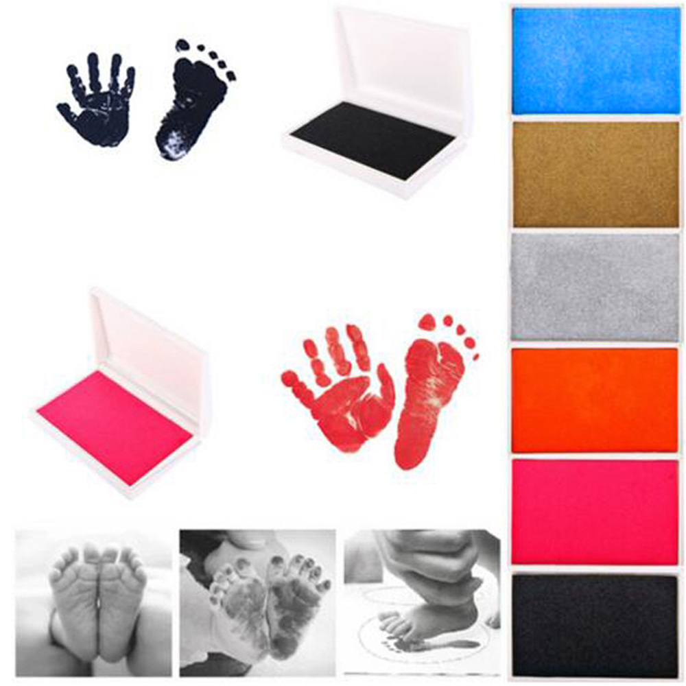 Newborn Baby Handprint Footprint Imprint Kit Inkpad Non-toxic Souvenirs Casting Ink Pad Infant Clay Toys Cute Gifts