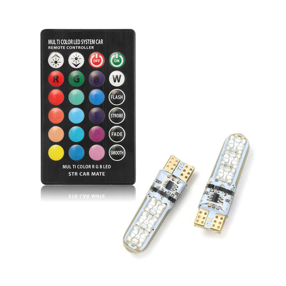 Lámpara de señal LED RGB para coche 12V T10 LED RGB 5050 6SMD, controlador remoto, luz de cuña de lectura, bombillas LED T10, lámparas de ambiente