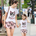 New summer style mom and daughter set matching mother daughter clothes family look girls clothing set t-shirt+shorts sport suit
