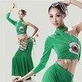 Женские национальные костюмы одежда танец костюм павлин танец одежды китайский народный танец платье