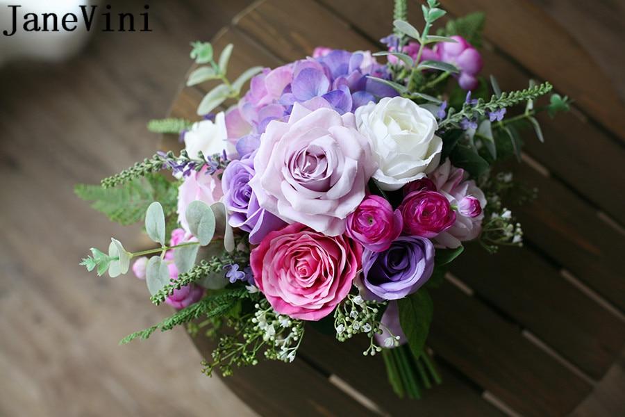 JaneVini Romantic Brides Bouquet Wedding Flowers Lilac Purple Rose Silk Artificial Bridal Bouquet Stitch Western Wedding Brooch