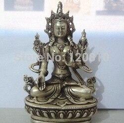 Tibet Boeddhistische Zilver Wit Tara Boeddhabeeld