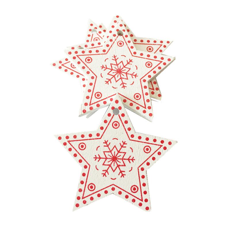 New Year 2020 Christmas Snowflake Wooden Pendant Xmas Tree Decorations for Home Wood Hanging Crafts Navidad 2019 Noel Natal Deco 21