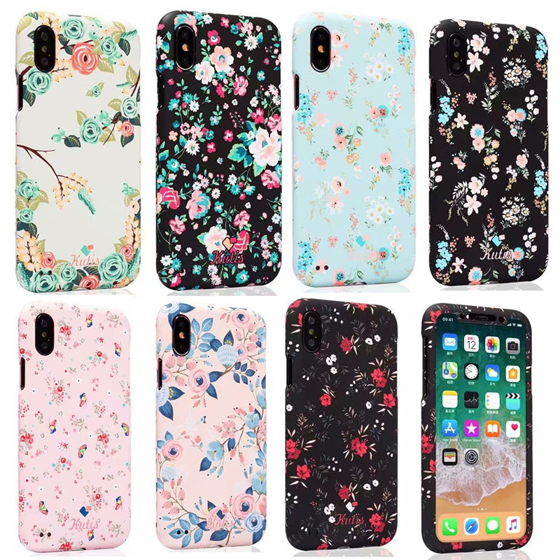 Fashion 360 Degree Full Protection <font><b>Luminous</b></font> <font><b>Case</b></font> For <font><b>iPhone</b></font> 7 <font><b>6</b></font> 6S 8 Plus X Flower Floral Pattern Hard Cover For <font><b>iPhone</b></font> XS Max image