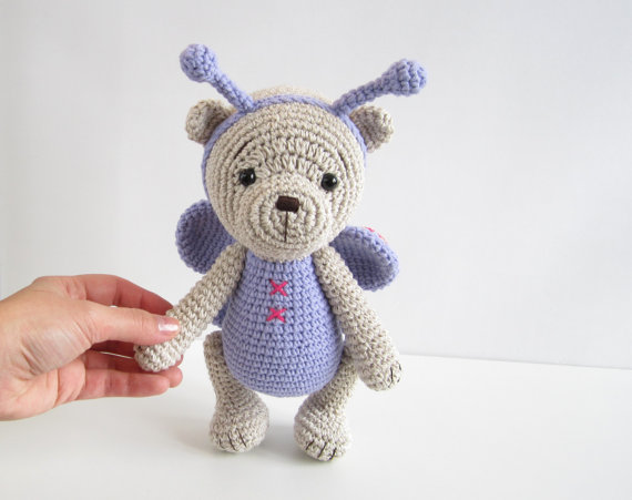 Bear In A Butterfly Costume Classic 4 Way Jointed  Bear Amigurumi Animal Toy Doll