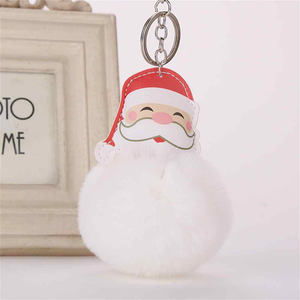 1 pc Novo Papai Noel Chaveiro Chaveiro de Pele De Coelho Artificial Fur Pompom Fofo Bola De Pêlo Saco Chave Anéis Carro presente de natal