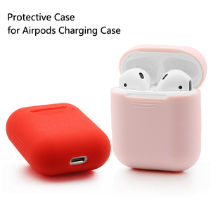Image 2 - Soft Silicone Skin Case for Apple Airpods charging case Airpod Protective Cover Sleeve pouch Shockproof coque fundas capa Red
