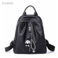 Women Backpack For Teenage Girls Fashion Black Medium Student Leather Backpack Cartoon Lovely Pendant Shoulder School