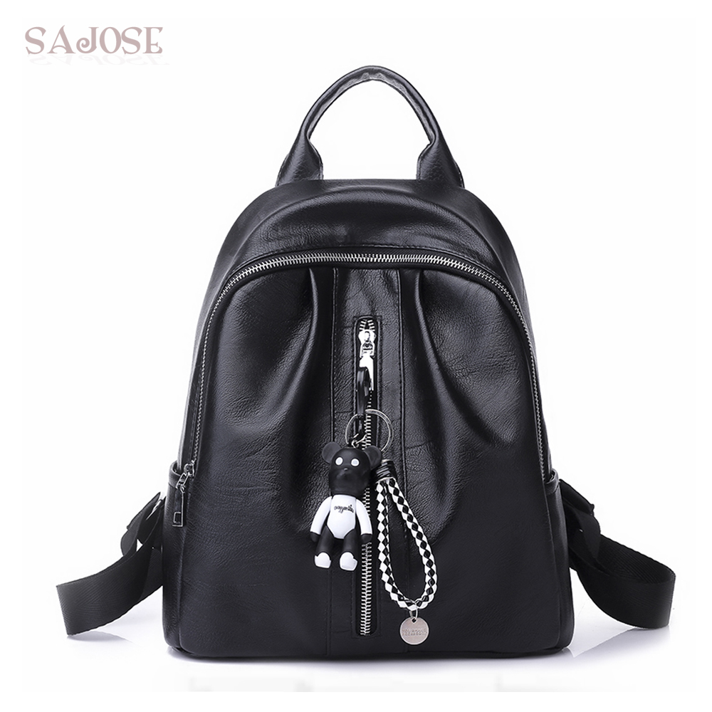 Women Backpack For Teenage Girls Fashion Black Medium Student Leather Backpack Cartoon Lovely Pendant Shoulder School Bag SAJOSE women backpack fashion pvc faux leather turtle backpack leather bag women traveling antitheft backpack black white free shipping