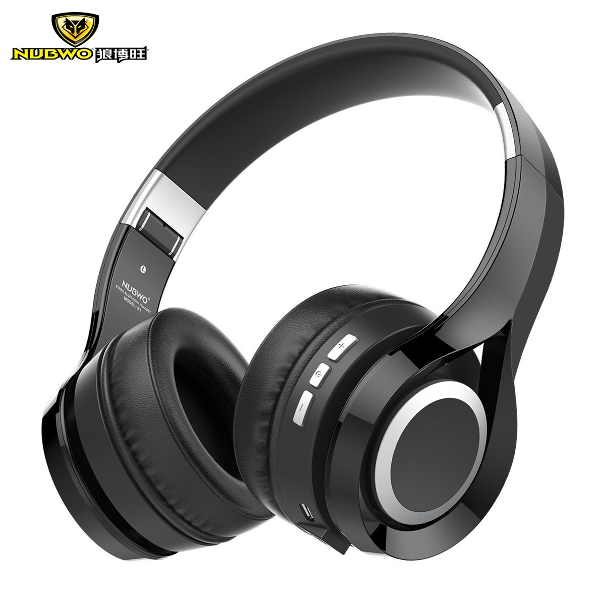 NUBWO S1 Wireless+Wired Bluetooth Headphones Over Ear Foldable Stereo Surround Sound Deep Bass Wireless Headsets With Microphone merrisport wireless bluetooth foldable over ear headphones headsets with mic for for cellphones ipad iphone laptop rose gold
