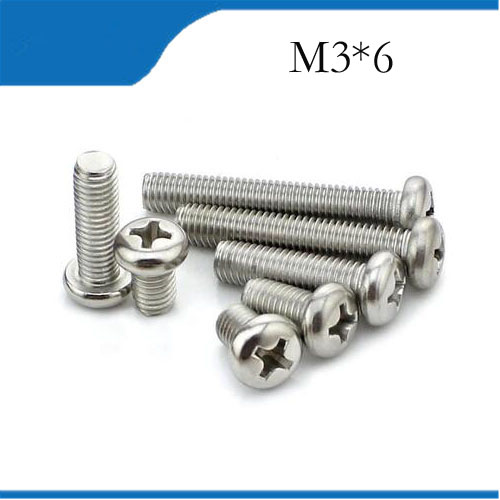 Free Shipping <font><b>M3X6mm</b></font> 100pcs Stainless Steel Pan Head Cross Socket Recessed Raised Cheese Head PanRound Head Cross Recessed Screw image