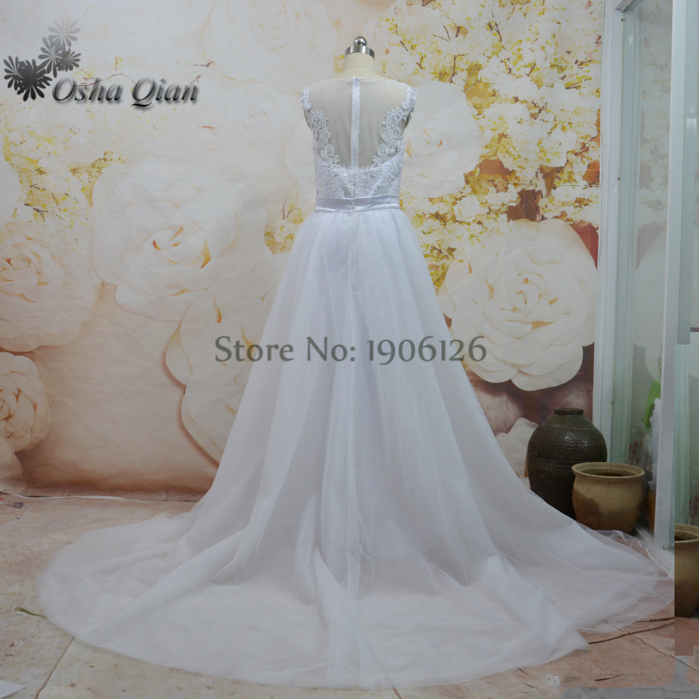 Rustic White Ivory Wedding Dresses Removable Skirt Robe mariage ...