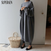 SuperAen Fashion Korean Style Women Sweater Long Dress 2018 Autumn and Winter New Solid Color Loose Warm Casual Long Dress Women