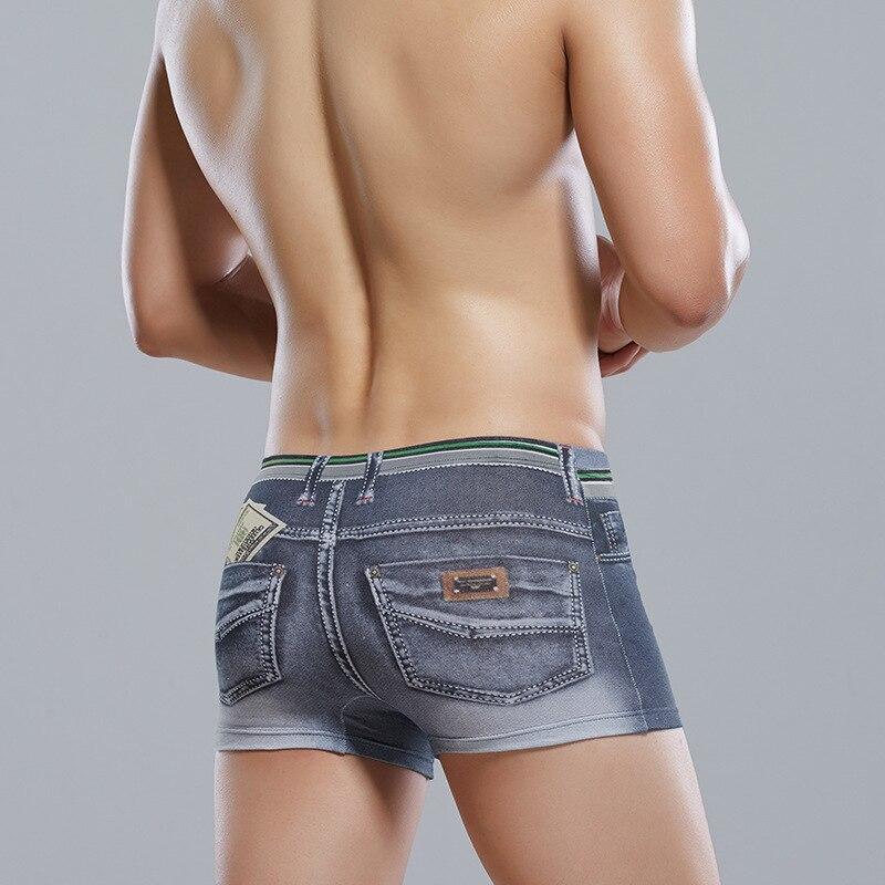 Underwear Men Boxer Men's Underwear Cotton 3D Printed Denim Boxers Men's Underpants Camouflage Mid-waist Underwear Men Boxer