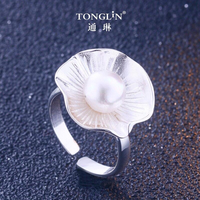 TONGLIN bijoux fins fait à la main bague femme argent 925 anneau ouvert, 925 en argent sterling lutos perle anneau pour les femmes