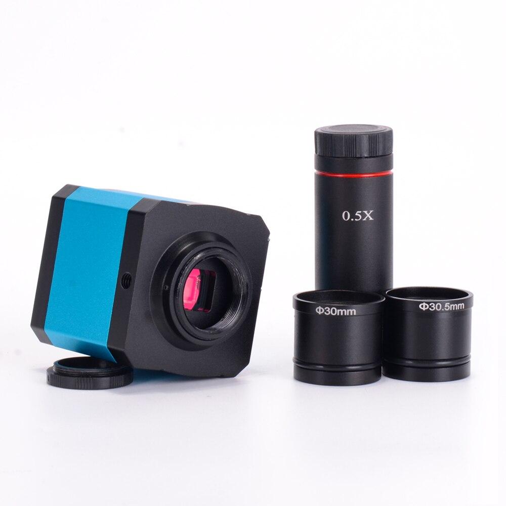 L'industrie 14MP HDMI 1080 P HD USB Numérique Microscope Caméra TF Carte enregistreur vidéo + 0.5X C montage Oculaire Lentille + 30mm 30.5mm adaptateur