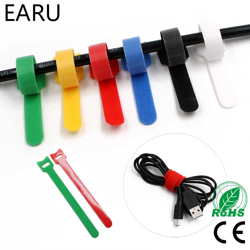 10 unids/lote 12*150mm Nylon reutilizable liberable ataduras de cable ZIP con orificios de ojal espalda a la parte posterior de alambre gancho de alambre