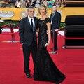 2014 nueva Red Carpet vestidos negro largo del cordón del vestido de noche de encaje elegante vestidos sirena Celebrity vestidos formales Robe Soiree