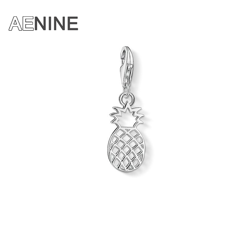 AENINE Fashion Silver Color Cut-out Pineapple Diy Charms Fit Bracelets Stands For Joie De Vivre And Self-confidence TSCH6801