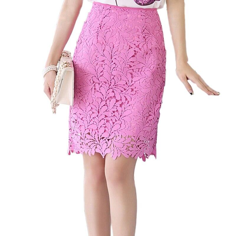 Lace Skirt Women Elegant Summer High Waist Pencil Skirts ...