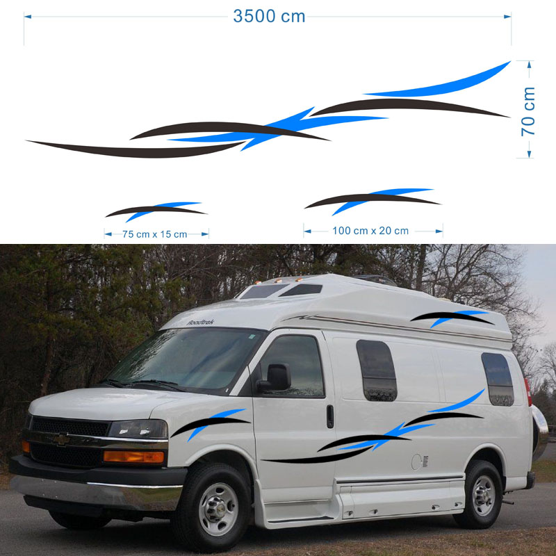 2x Motorhome Caravan Travel Trailer Camper Van Stripes Graphics one for each side Vinyl Graphics Kit