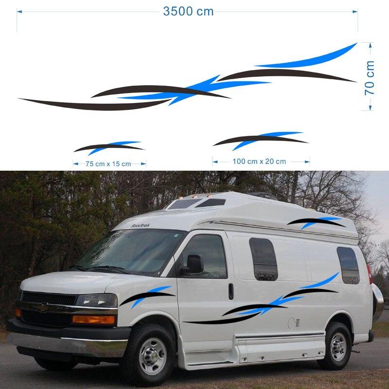 2x Camping-Car Caravane Remorque Voyage Camping-Car Van Rayures Graphiques (un pour chaque côté) vinyle Graphiques Kit Stickers Autocollants De Voiture
