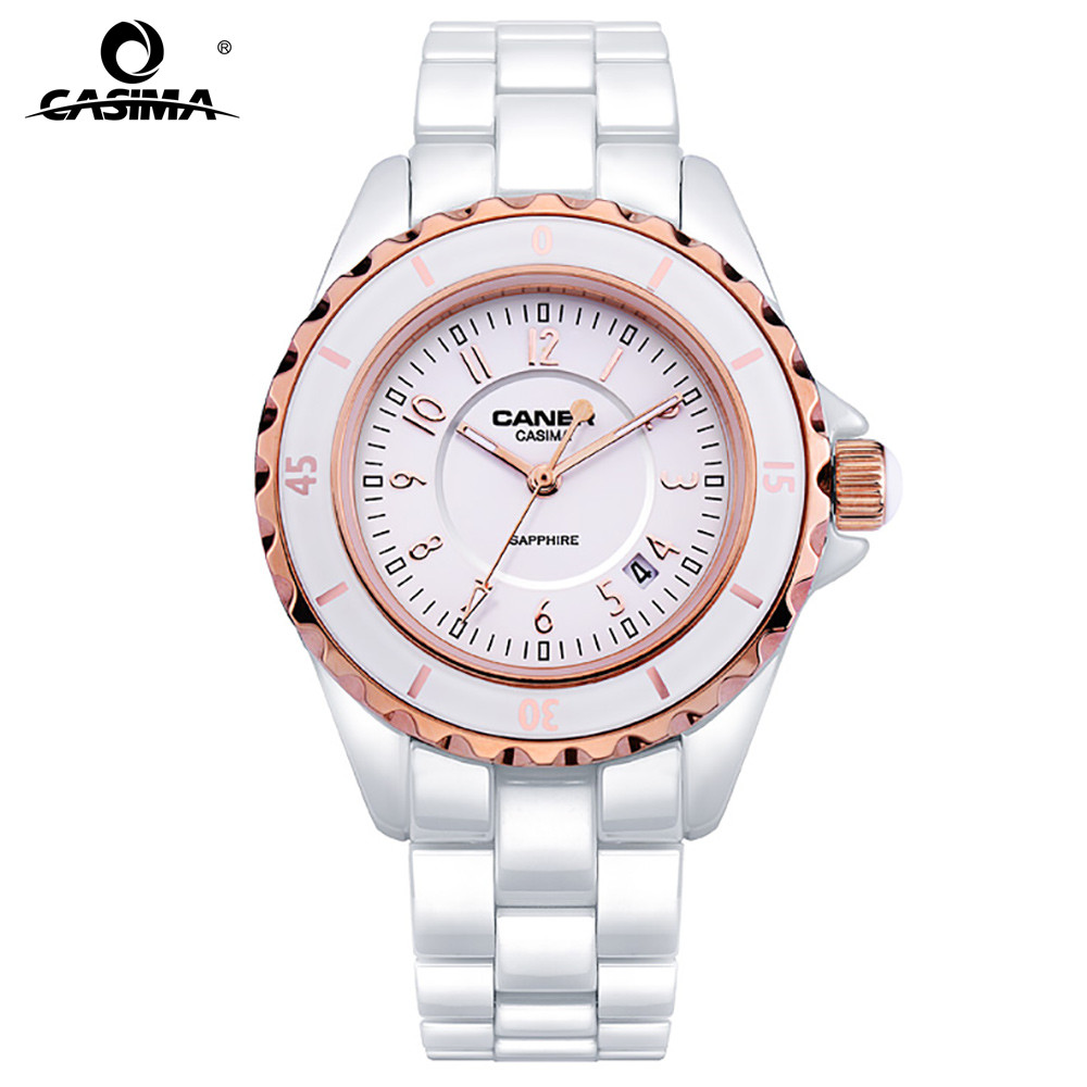 CASIMA Hot sell Women watch Luxury New Ceramic Ladies Quartz Gifts For Girl Full Stainless Steel Rhinestone wrist watches 6702