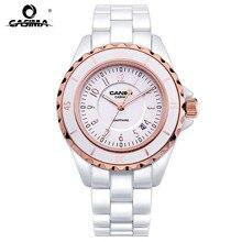 Luxus marke frauen Armband Uhren blenden schönheit raum keramik mädchen quarz armbanduhr weibliche weiße CASIMA #6702