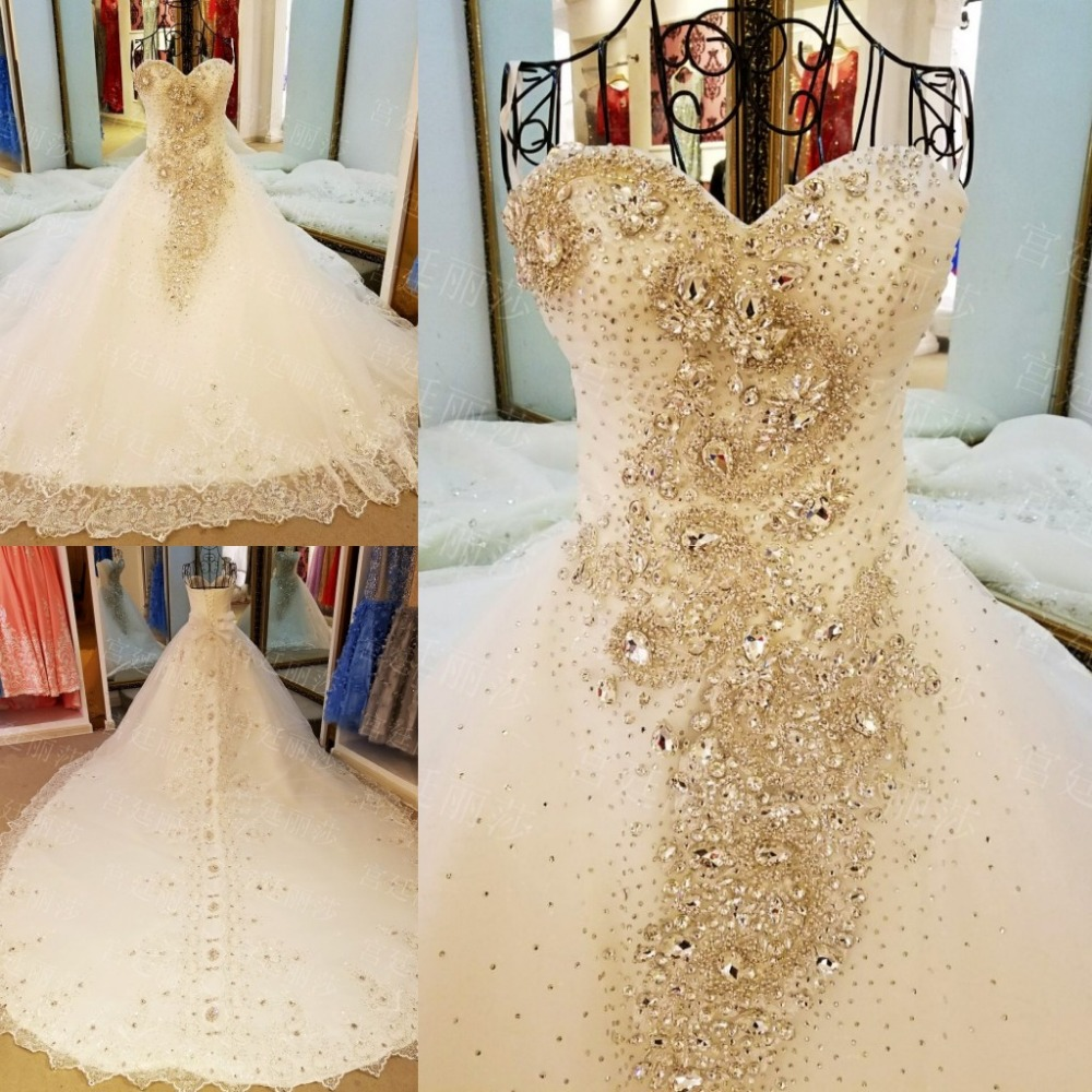 LS99087 Diamond wedding gown 2017 lace up back sweeheart ball gown ...