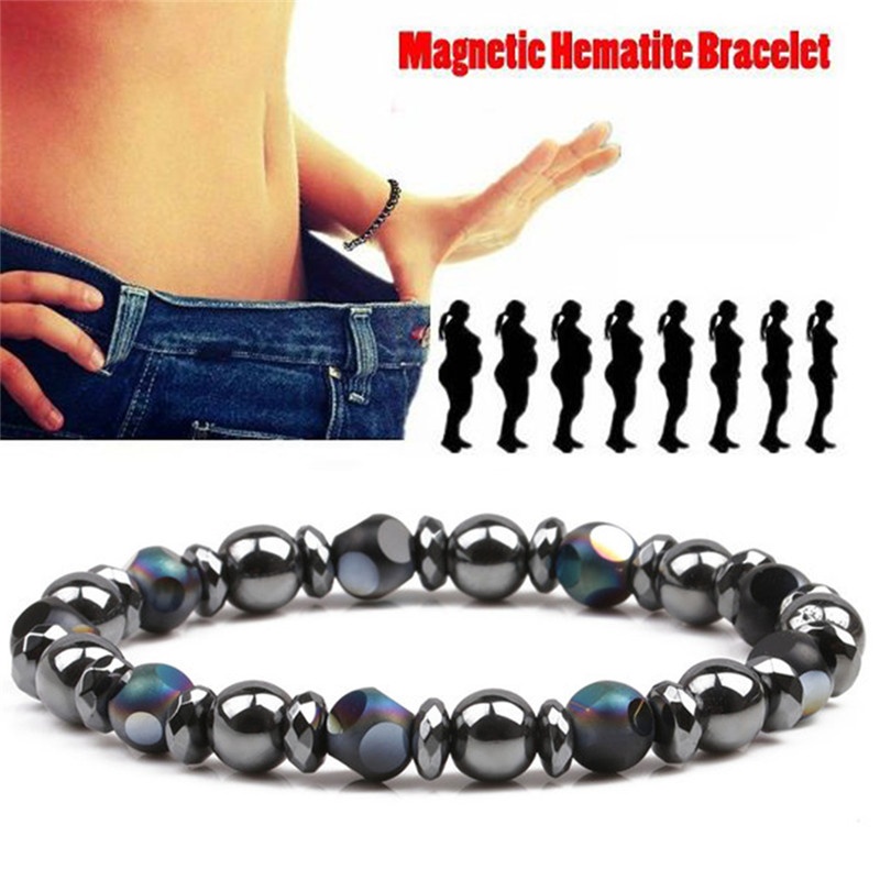 Perlen Hämatit Stein Therapie Gesundheit Pflege Magnet Hämatit Perlen Armband Männer Schmuck Frauen 6,5 Cm Kühlen Schwarz Magnetische Armband Schönheit & Gesundheit Gesundheitsversorgung