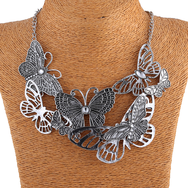 Statement Butterfly Crystal Necklaces Chain Rhinestone boho Vintage Cute Bohemian Maxi Pendant Necklace Women 2016 Dropshipping