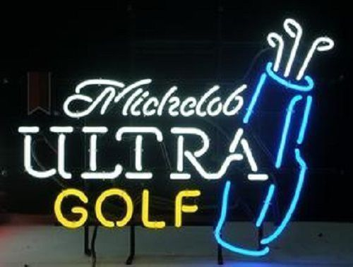 Custom Michelob Ultra Golf Bag Glass Neon Light Sign Beer Bar
