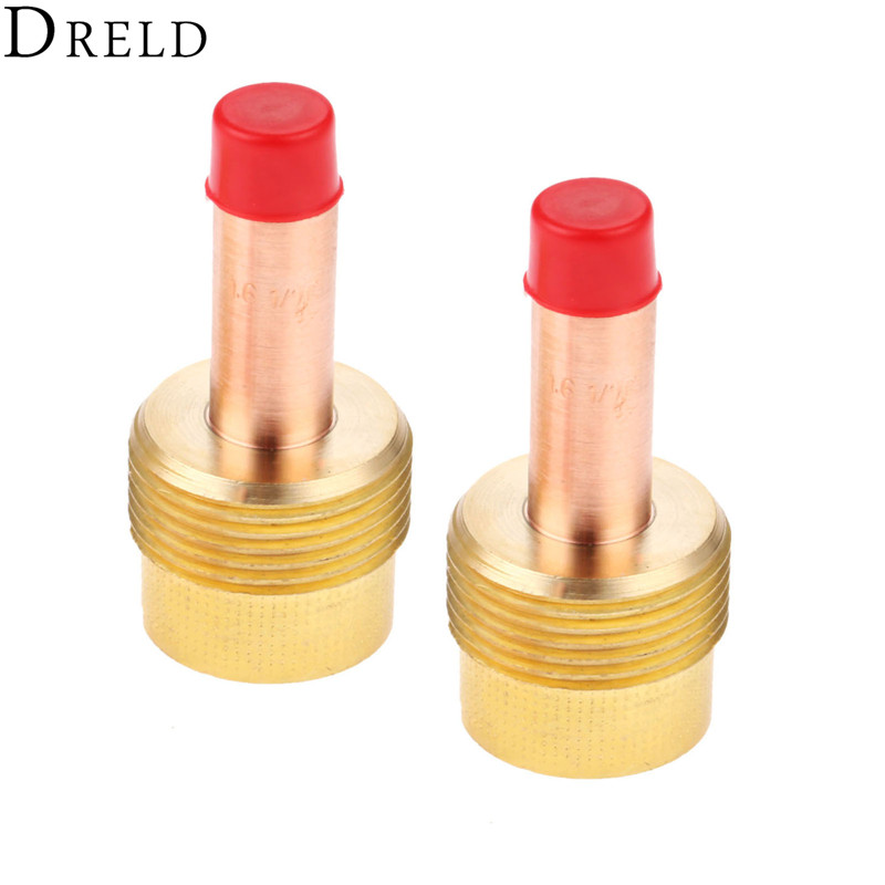 DRELD 2pcs 45V116 TIG Collets Body Large Diameter Gas Lens 1 16 39 39 1 6mm for TIG Welding Torch SR PTA DB WP 17 18 26 Series 2PK in Welding Torches from Tools