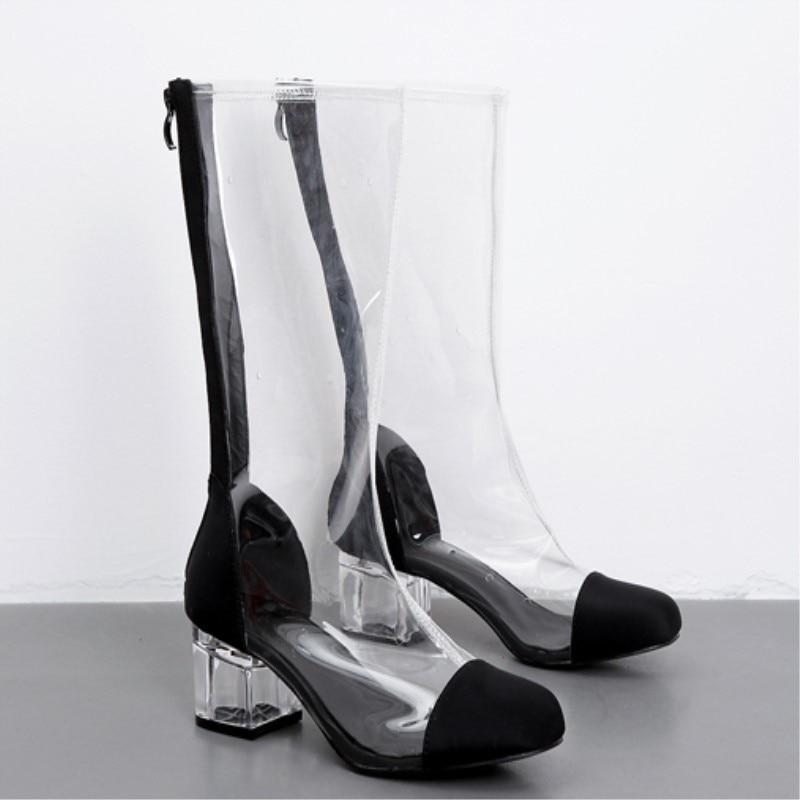 New summer boots women botines mujer 2018 scarpe donna chaussures femme schoenen vrouw transparent boots