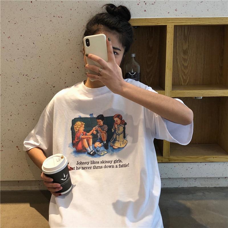 4 Colors Mihoshop Ulzzang Korean Korea Women Fashion Clothing Summer Round Neck Cartoon Print Loose Short Sleeve T shirt