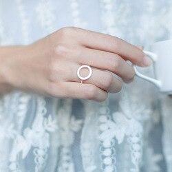 Оптовая продажа 100% Настоящее 925 пробы Серебряное открытое круглое кольцо на палец регулируемый размер геометрический Стерлинговое Серебро...