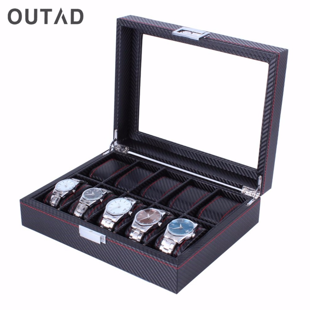 OUTAD 10 Grids Carbon Fibre Pattern Watch Box Watch Holder Storage Box Jewelry Display Rectangle Black Color Case Storage A50 стоимость