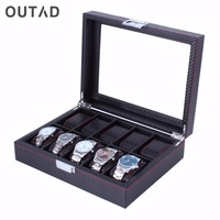 OUTAD 10 Grids Carbon Fibre Pattern Watch Box Watch Holder Storage Box Jewelry Display Rectangle Black Color Case Storage A50