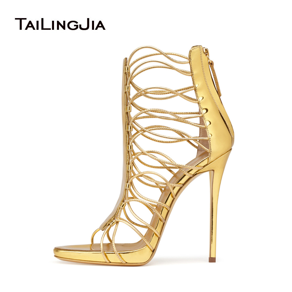 Sexy Women Extremely High Heel Gold Patent Strappy Sandals Blue Suede Stiletto Heels Evening Dress Shoes Large Size Wholesale women strappy heels evening high heel black patent leather sandals open toe thin heel sexy party stiletto shoes big size 2017