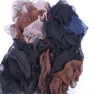 Image 5 - Акция! Женские шифоновые шарфы в горошек, летние шарфы с грибковыми краями, шаль с оборками, эластичный головной платок, мусульманский хиджаб
