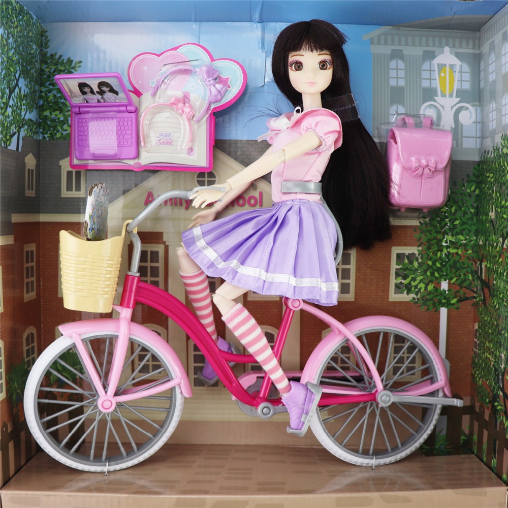 11.5 inches Jimusuhutu School Girl Doll High Quality Dolls with Bicycle Satchel Laptop Glasses Hairpin Accessories for Barbie