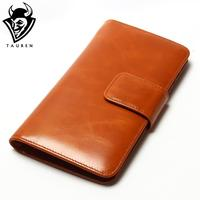 Women Multi Card Oil Wax Leather Wallet Long Genuine Leaher Wallet Holder Good Quality Zipper Pocket