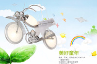 Modern motorcycle glass pendant light for kids,children cartoon iron light fixture