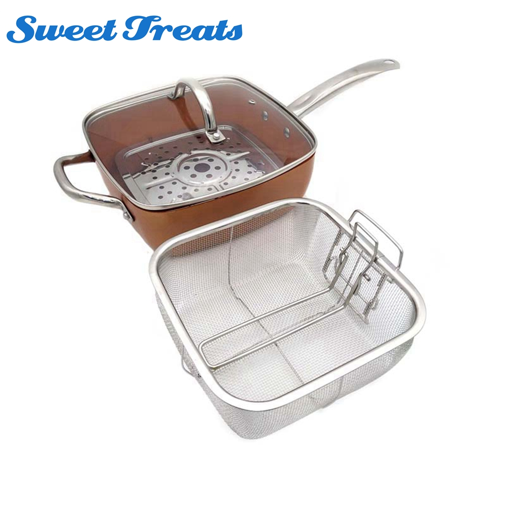 Sweettreats Cuadrado de cobre Inducción Cacerola del Cocinero w/Tapa De Cristal Cesta de Freír, Estante Del vapor 4 Unidades Set, 9.5 pulgadas utilizado en la inducción