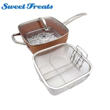 Sweettreats copper Square Pan Induction Chef w/Glass Lid Fry Basket, Steam Rack 4 Piece Set, 9.5 inches used in induction